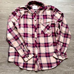 Rails Pink Plaid Button Down Flannel Large